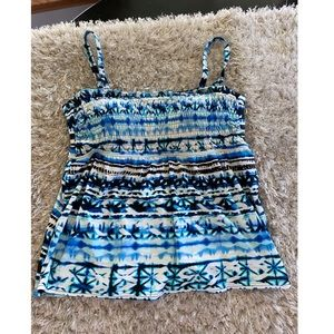St Johns Bay Smocked Tankini Swim Top Size 16W